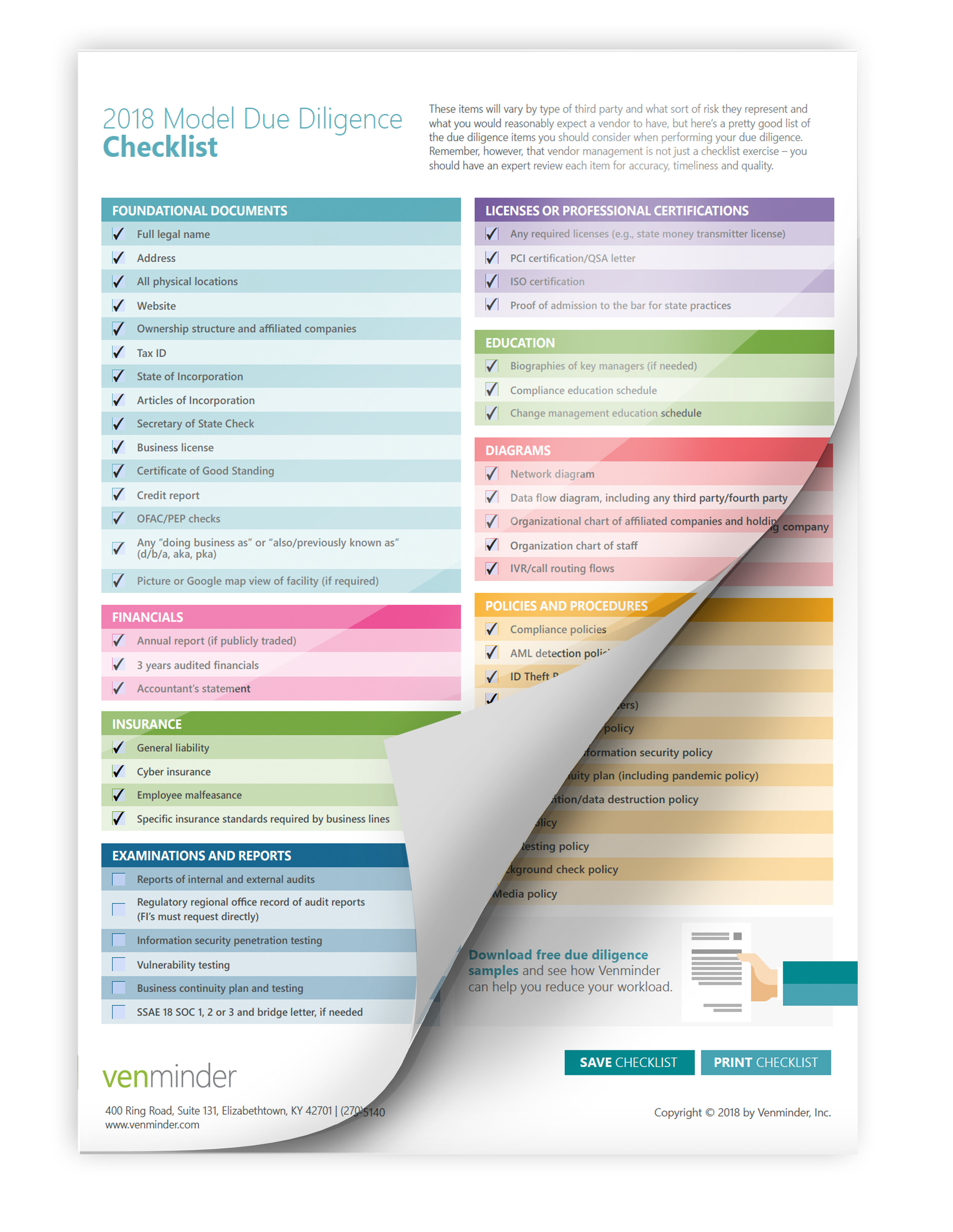 2017 vendor due diligence checklist for bank credit union mortgage lenders